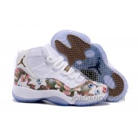 "Super Deals 2016 Girls Air Jordan 11 ""Floral Flower"" White Brown Shoes 310394"