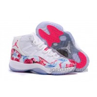 "Top Deals 2016 Girls Air Jordan 11 ""Floral Flower"" White Pink Shoes"