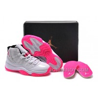 Online 2016 Girls Air Jordan 11 White Pink Shoes For Sale