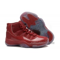 Authentic Girls Air Jordan 11 Red-Brown Leather Shoes For Sale