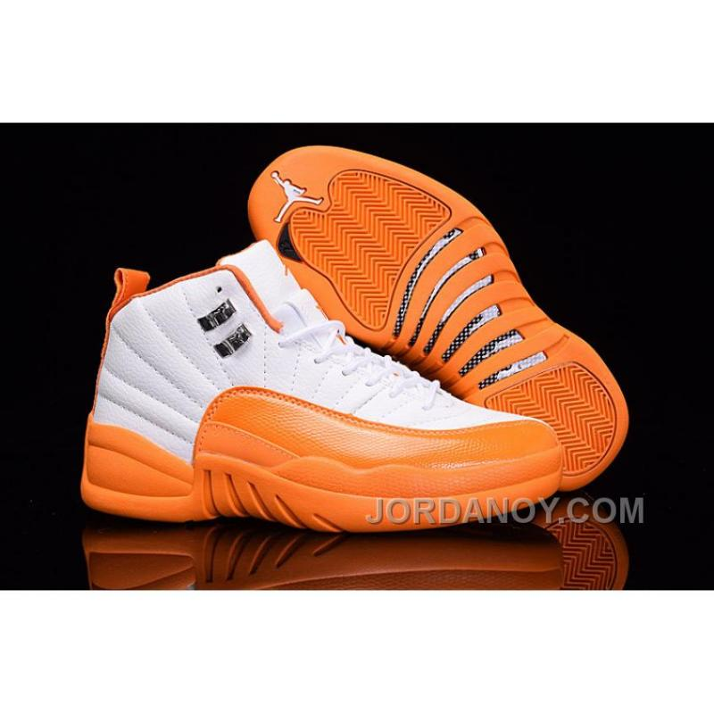 2017 Air Jordan 12 GS The Glove White Orange Lastest