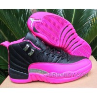 Super Deals 2016 Air Jordan 12 GS Black Pink Shoes