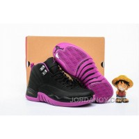 "Lastest 2016 Air Jordan 12 GS ""Hyper Violet"" Black/Metallic Gold Star-Hyper Violet"