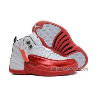Cheap To Buy Girls Air Jordan 12 White Cherry Red For Sale