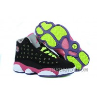New Air Jordan 13 GS Black-Pink/Venom Green Authentic
