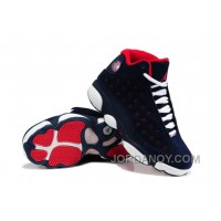 Online Girls Air Jordan 13 Retro Suede Dark Blue/Red-White For Sale