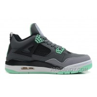 New Air Jordan 4 Retro Dark Grey/Green Glow-Cement Grey-Black Online