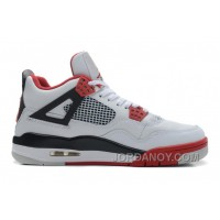 New Air Jordan 4 Retro White/Fire Red-Black Authentic