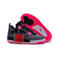 Top Deals 2016 Girls Air Jordan 4 Black Grey Hyper Pink For Sale