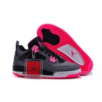 Christmas Deals 2016 Girls Air Jordan 4 Black Grey Hyper Pink For Sale