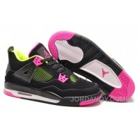 For Sale Girls Air Jordan 4 Retro Black Suede Light Green Pink
