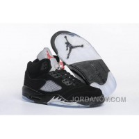 "Top Deals 2016 Air Jordan 5 GS ""Black Metallic"" Black/Fire Red-Metallic Silver-White"