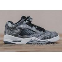 "Free Shipping 2016 Girls Air Jordan 5 Low GS ""All-Star"" Cool Grey/Wolf Grey-White-Black"