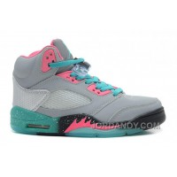 "Girls Air Jordan 5 ""Miami Vice"" Grey/Teal-Pink For Sale Christmas Deals"