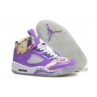 Girls Air Jordan 5 Purple Cherry Blossom For Sale Free Shipping