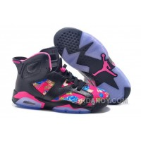 """Cheap To Buy 2016 Girls Air Jordan 6 """"Floral Print"""" Black Pink Shoes For Sale"""