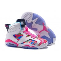 """Authentic 2016 Girls Air Jordan 6 """"Floral Print"""" Pink White Shoes For Sale"""