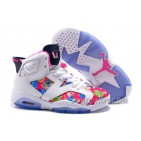 """Authentic 2016 Girls Air Jordan 6 """"Floral Print"""" White Pink Shoes For Sale"""