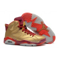 New Air Jordan 6 Retro Metal Gold/Deep Red-Varsity Red Hot Now