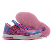 "Christmas Deals Girls Nike KD 6 ""Aunt Pearl"" Light Arctic Pink/Photo Blue-Vivid Pink"