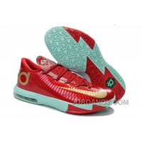 "Super Deals Girls Nike KD 6 ""Christmas"" Light Crimson/Metallic Gold-Green Glow For Sale"