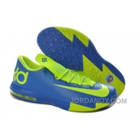 Cheap To Buy Girls Nike KD 6 Royal Blue/Neon Green For Sale