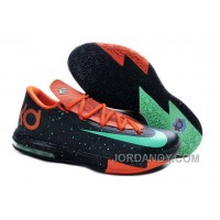 "Lastest Girls Nike KD 6 ""Texas"" Black/Green Glow-Urban Orange For Sale"