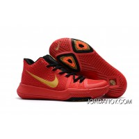 Girls Nike Kyrie 3 Red Black Gold New Release