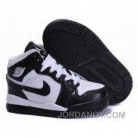 Kids Air Jordan 1 Black White Free Shipping