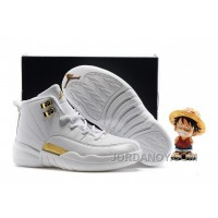 Christmas Deals Kids Air Jordan 12 All White Gold 2016 For Sale