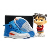 Discount Kids Air Jordan 12 Blue White Orange 2016 For Sale