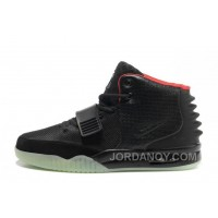 Discount Nike Air Yeezy 2 Black/Solar Red Glow In The Dark For Sale