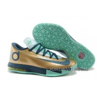 "Lastest Nike Kevin Durant KD 6 VI ""54 Points"" Gold/Navy-Teal For Sale"