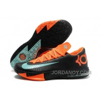 "Top Deals Nike Kevin Durant KD 6 VI ""Texas"" Black/Green Glow-Urban Orange For Sale"