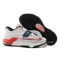 "Free Shipping Nike Kevin Durant KD 7 VII ""USA"" White/Obsidian-University Red For Sale"