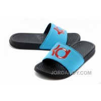 Super Deals Nike KD Black Blue Red Slippers For Sale