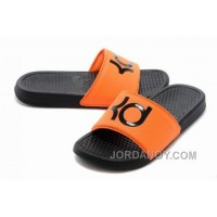 Nike KD Black Orange Slippers For Sale Super Deals