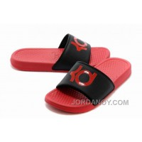 Discount Nike KD Red Black Slippers For Sale