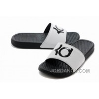 Online Nike KD White Black Slippers For Sale