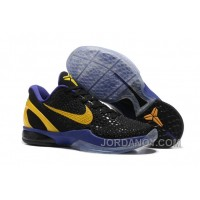 Free Shipping Nike Zoom Kobe 6 Black Purple Yellow Basketball Shoes