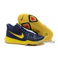 """Nike Kyrie 3 """"Cavs"""" Blue Yellow On Sale Super Deals"""