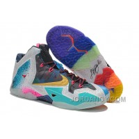 """Nike LeBron 11 """"What The LeBron"""" Black Lava/Silver Ice-Galaxy Blue For Sale Online"""
