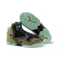 "Lastest Nike LeBron 11 ""King's Pride"" Parachute Gold/Arctic Green-Dark Loden-Black-University Red"