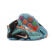 Nike LeBron 12 Teal/Orange-Black For Sale Authentic
