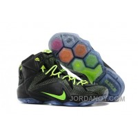 Lastest Nike LeBron 12 Black-Volt For Sale Cheap Online