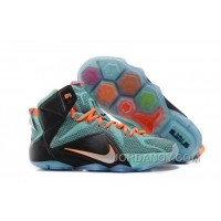 Super Deals Nike LeBron 12 Teal/Orange-Black For Sale