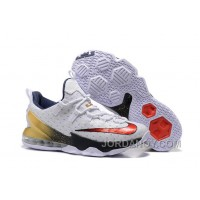 """For Sale 2016 Nike LeBron 13 Low """"USA"""" Olympic White/University Red-Obsidian-Metallic Gold"""