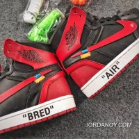 OFF-WHITE X Air Jordan 1 Mens Shoes Bred Lastest