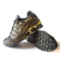 Men's Nike Shox NZ Carpenterworm Shoes Black/Yellow/Gold Super Deals