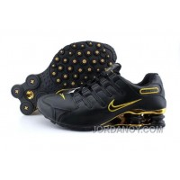 Men's Nike Shox NZ Shoes Black/Gold Super Deals
